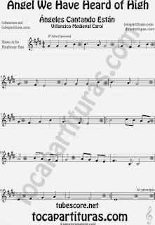 Partitura de para Saxofón Alto y Sax Barítono Canción de Navidad Carol Song for Christmas Sheet Music for Alto and Baritone Saxophone Music Scores