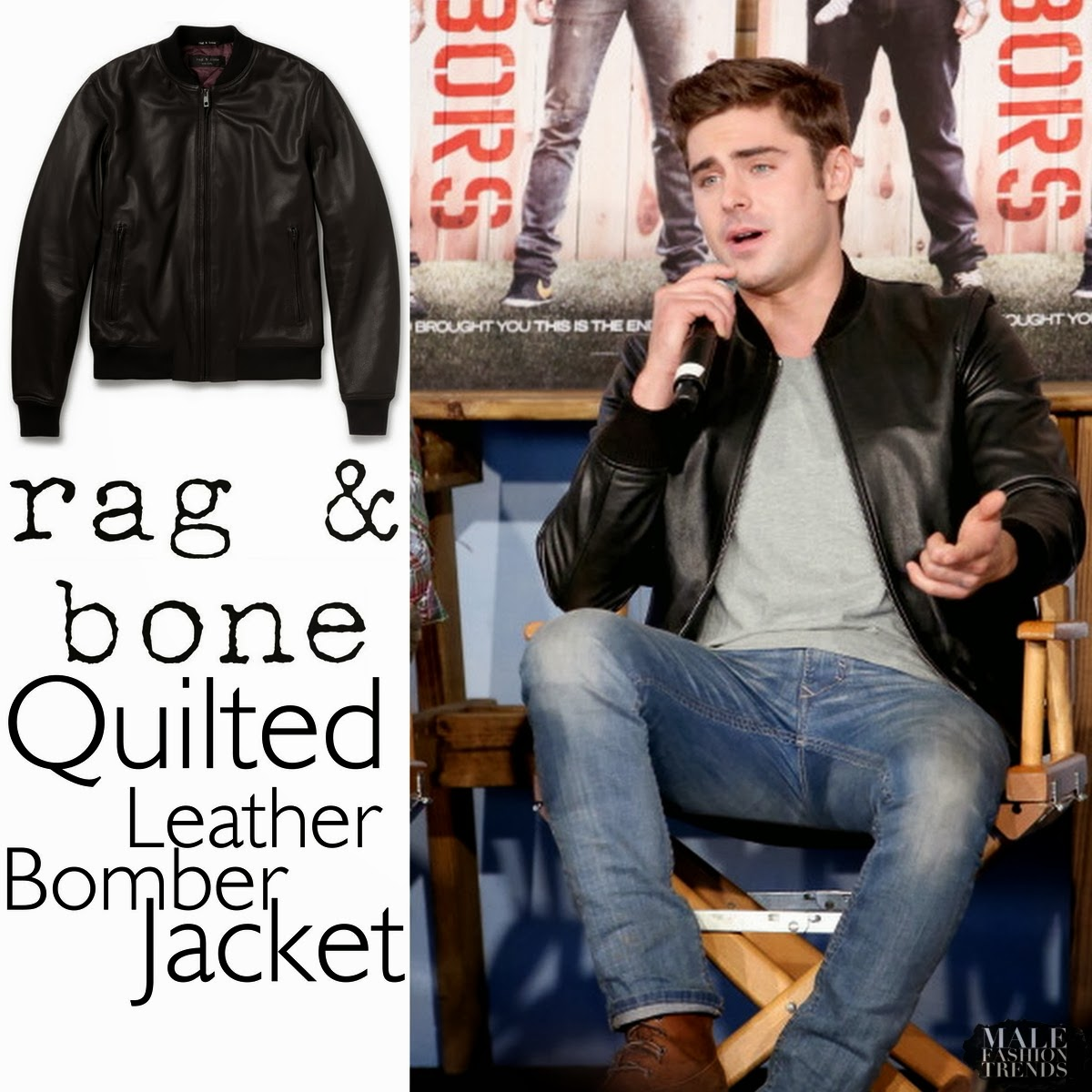 burberry prorsum quilted leather jacket 2011 Zac Efron y su Quilted Leather Bomber Jacket de Rag&Bone