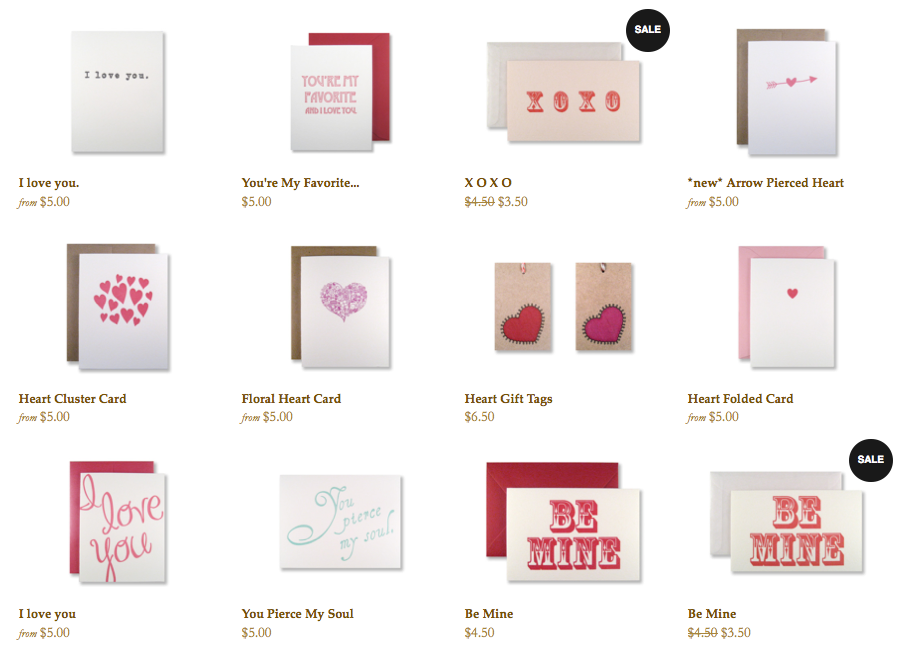 inviting's Valentine's Day card collection, letterpress printed in Austin, Texas.
