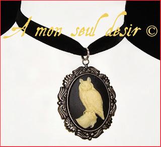 collier ras de cou gothique wicca camée chouette hibou bijou harry potter sorcier sorcière halloween choker owl cameo gothik gothic goth necklace wiccan
