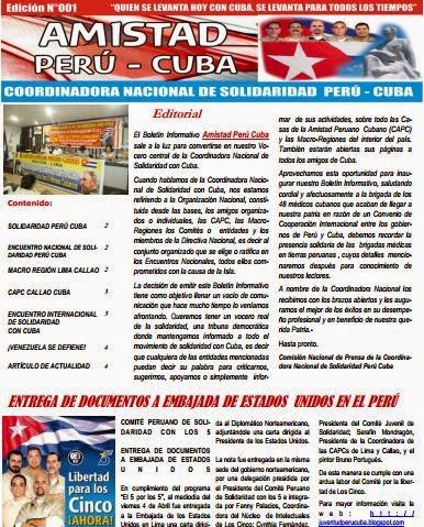 """BOLETÍN Nº001 """"AMISTAD PERÚ CUBA"""""""