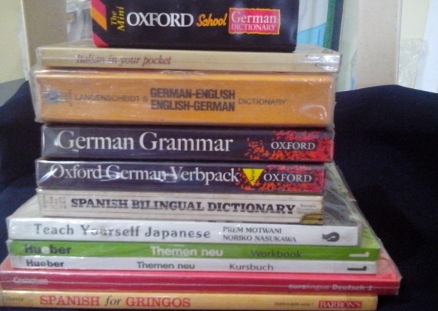 a photo of Ria's foreign language books