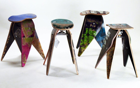 Decora y disena dise o de sillas bancos hechos de for Skateboard chair plans