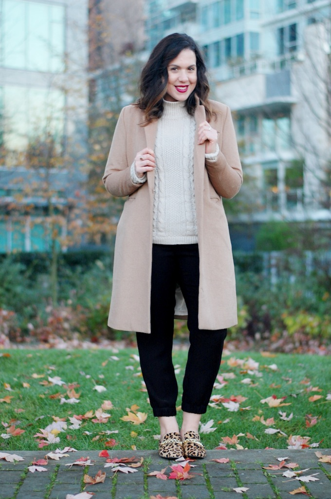 Theory turtleneck and jogger pants with camel H&M coat