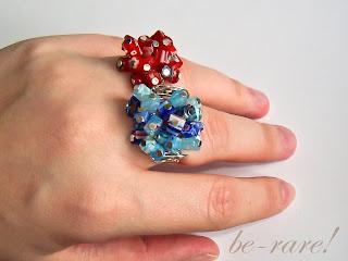 pierścionki wire wrapping millefiori na dłoni