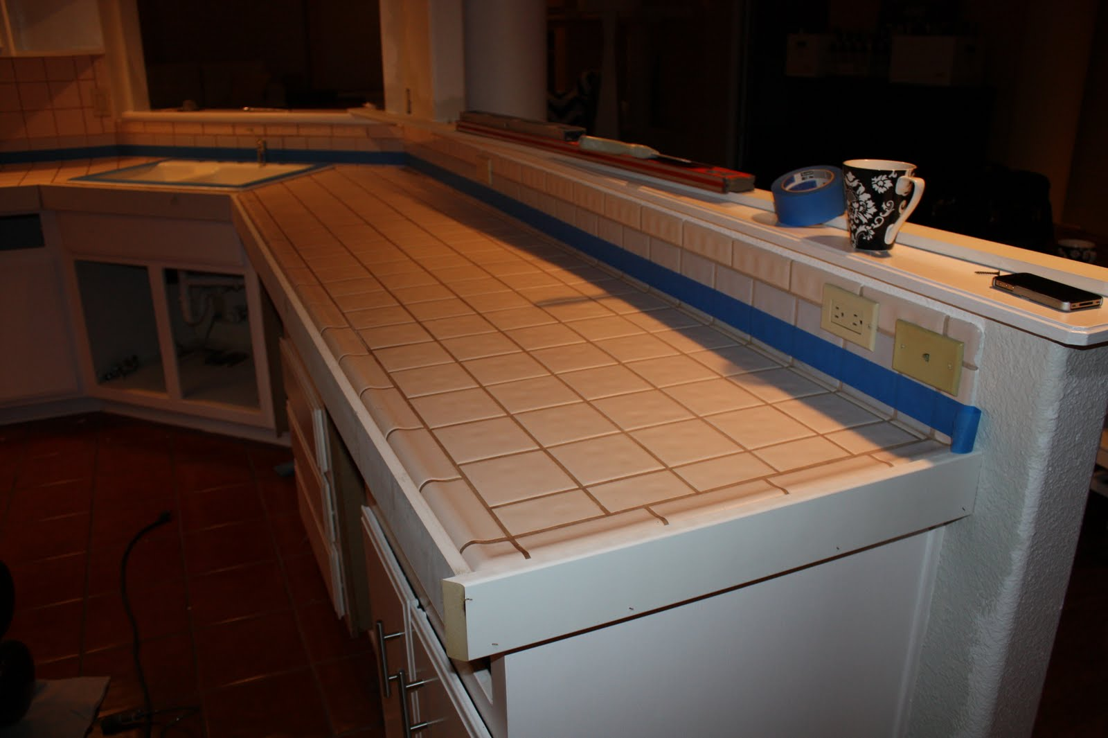 Diy Tile Kitchen Countertops Remodelaholic Quick Install Of Concrete Countertops Kitchen