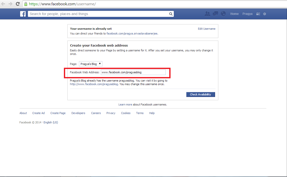 how to change my facebook url