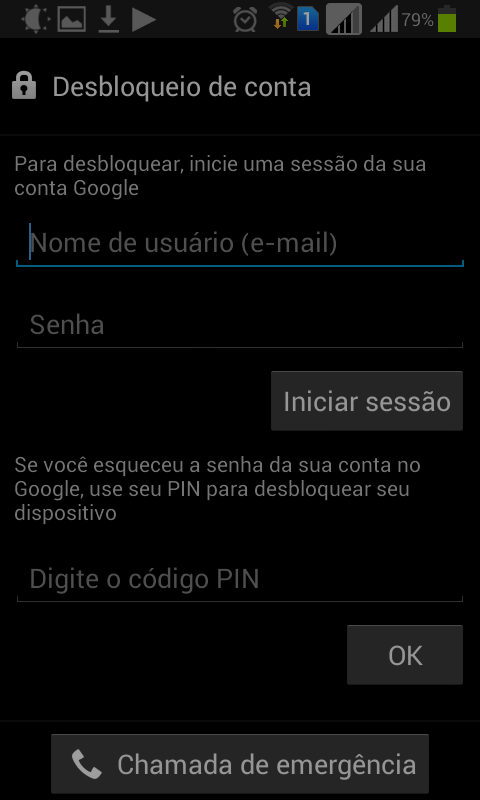 Desbloqueio do celular via PIN