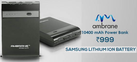Ambrane P-1000 STAR 10400 mAh Power Bank at Rs.778 (1 Year onsite Warranty)