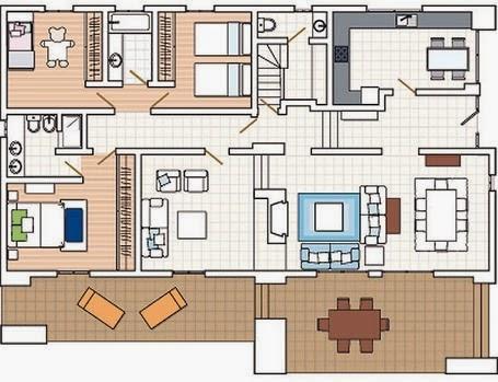 Un moderno plano que cuenta con tres habitaciones, sala de estar y un ...