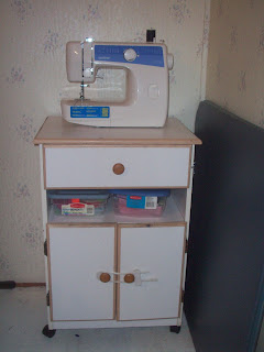 Old microwave cart becomes 'sewing cabinet'