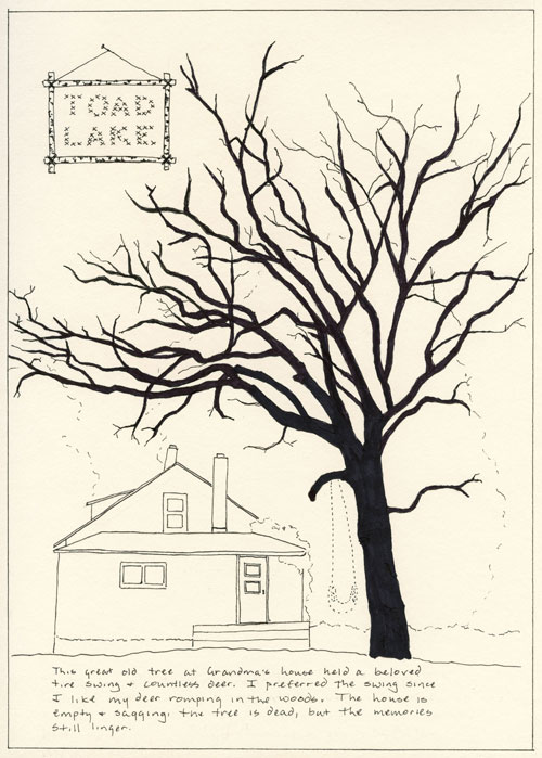 ink drawing of an old house with a bare, dead tree.