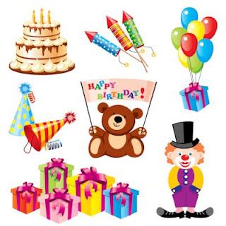 Ilustraciones y elementos clipart para tarjetas de cumpleaños