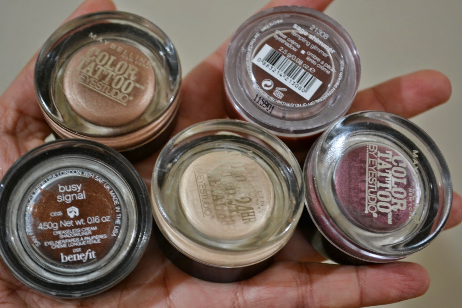 Barely Branded, Bad to the Bronze, CK cream eye shadow in Cashmere Plum, Pomegranate Punk and Benefit's Busy Signal