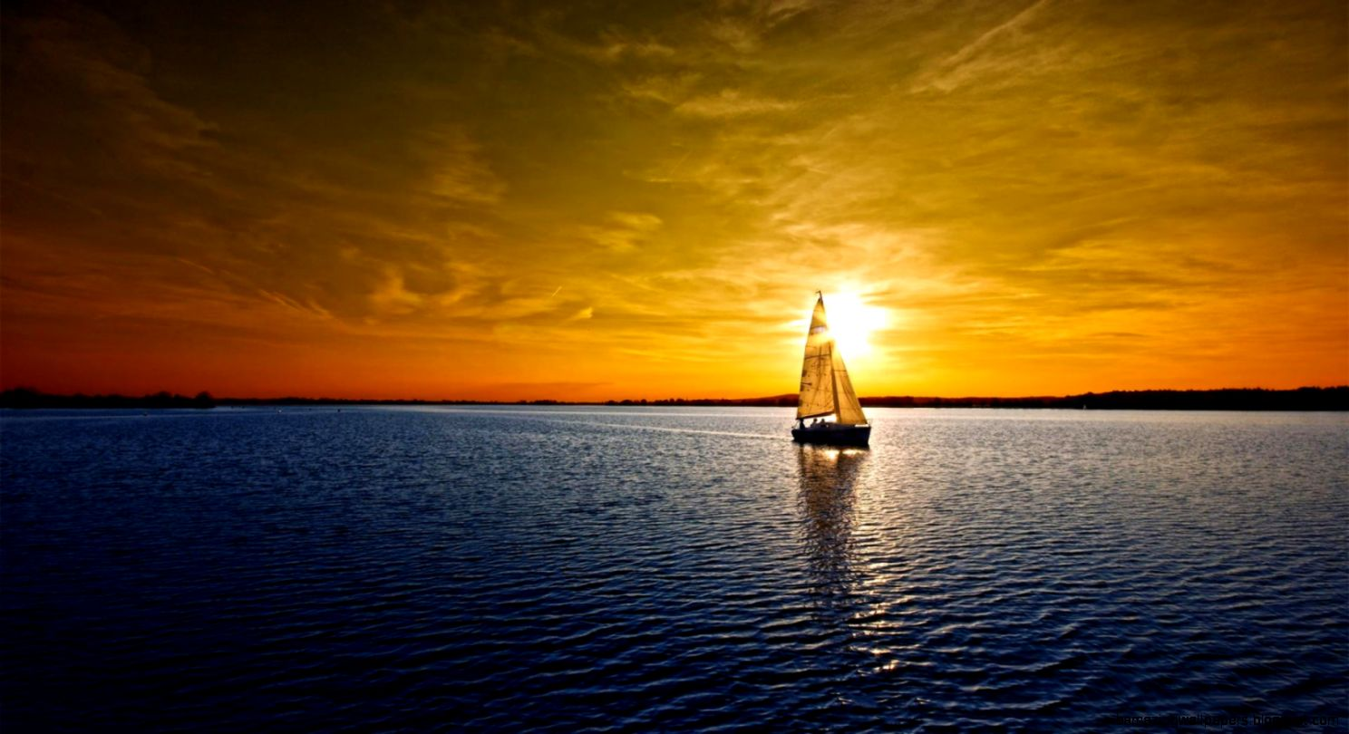 1600x900 Sailboat lake sunset Wallpaper