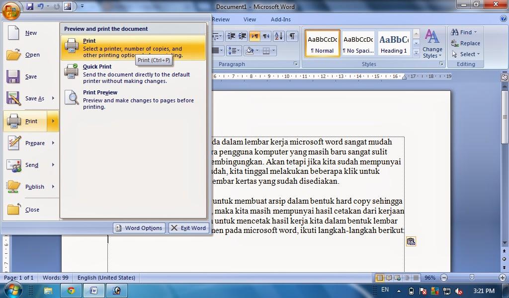 cara ngeprint di microsoft word 2010