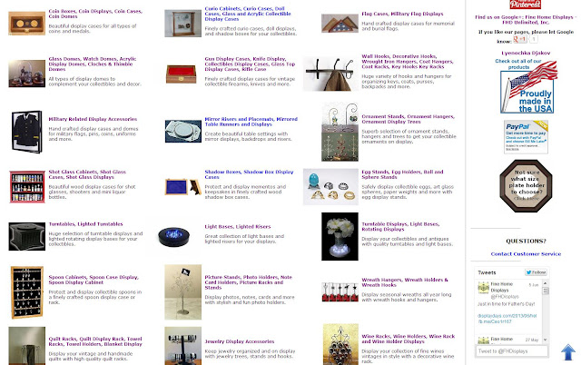 display accessories, plate hangers, display easels, shadow boxes, light bases, jewelry displays