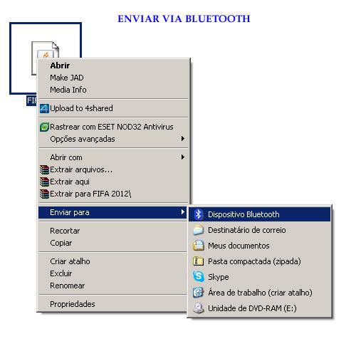 Como enviar Jogo Java para celular