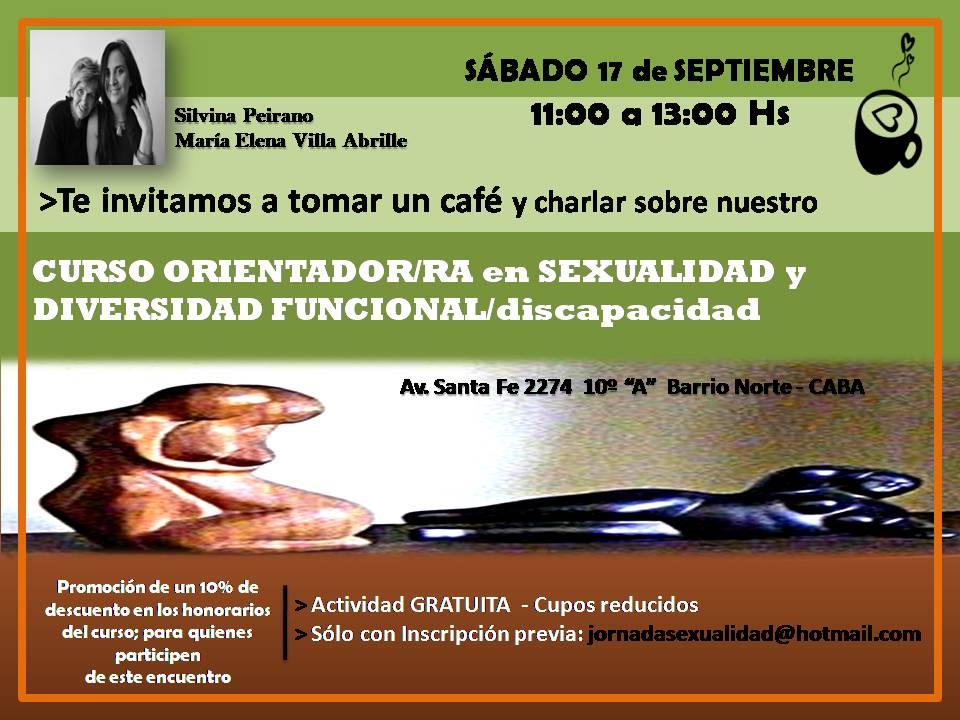 INVITACIÓN NOS TOMAMOS UN CAFÉ y lxs informamos sobre el CURSO ORIENTADOR/RA en SEXUALIDAD y DF.