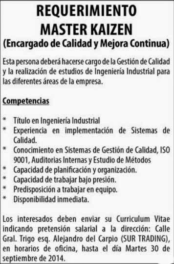 Empresa requiere Ingeniero Industrial