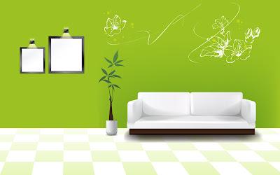 Digital Arts Interior With Green Drawing Room