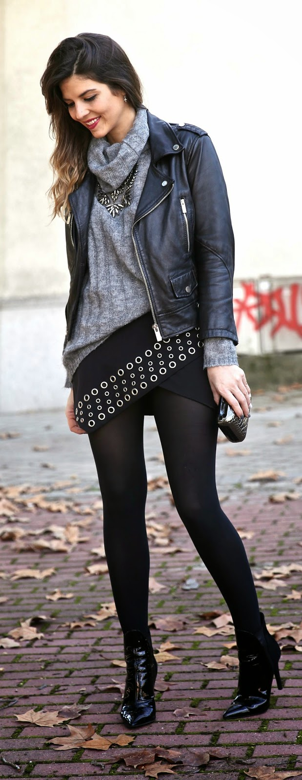 Leather Moto + Rocking Skirt by TrendyTaste