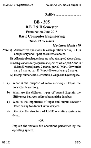 Rgpv be question paper of be 205 basic computer for Rgpv timetable 7th sem 2015