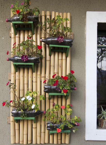 Jardim vertical reutilize pet e outros materiais