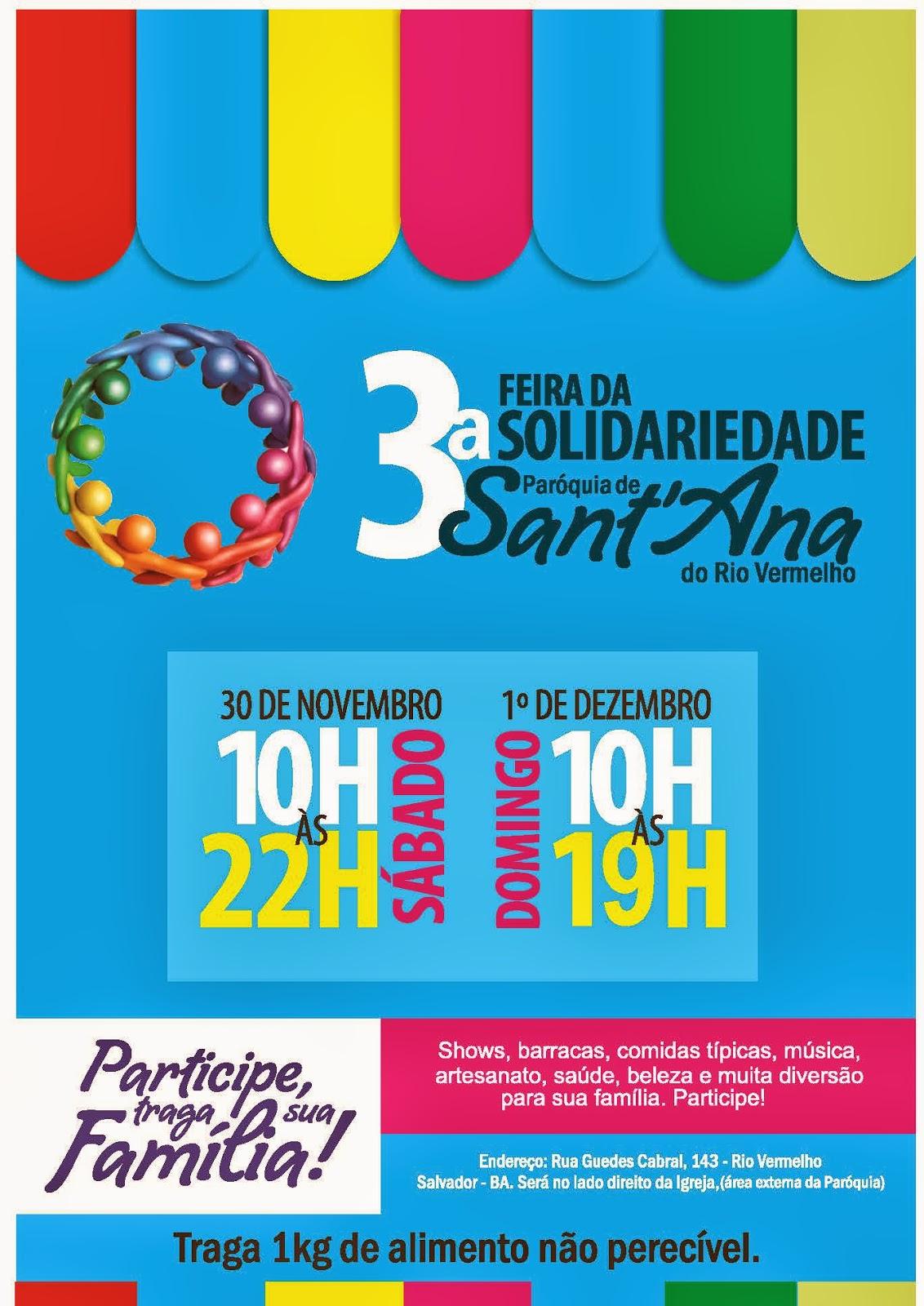 Participe da Feira da Solidariedade da Paróquia de Santana do Rio Vermelho