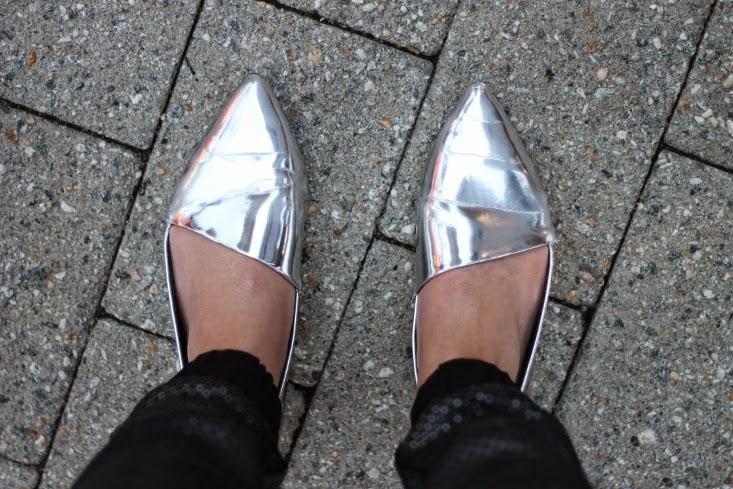 Zara Asymmetrical Metallic Flat