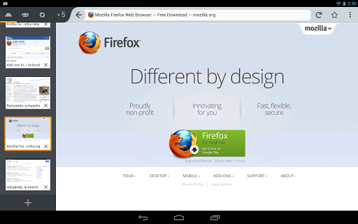 Firefox 2014 app Screenshot 1 on Tablet