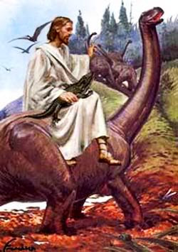 Picture of Jesus riding a Brontosaurus while holding a Alligator at Creation Museum.