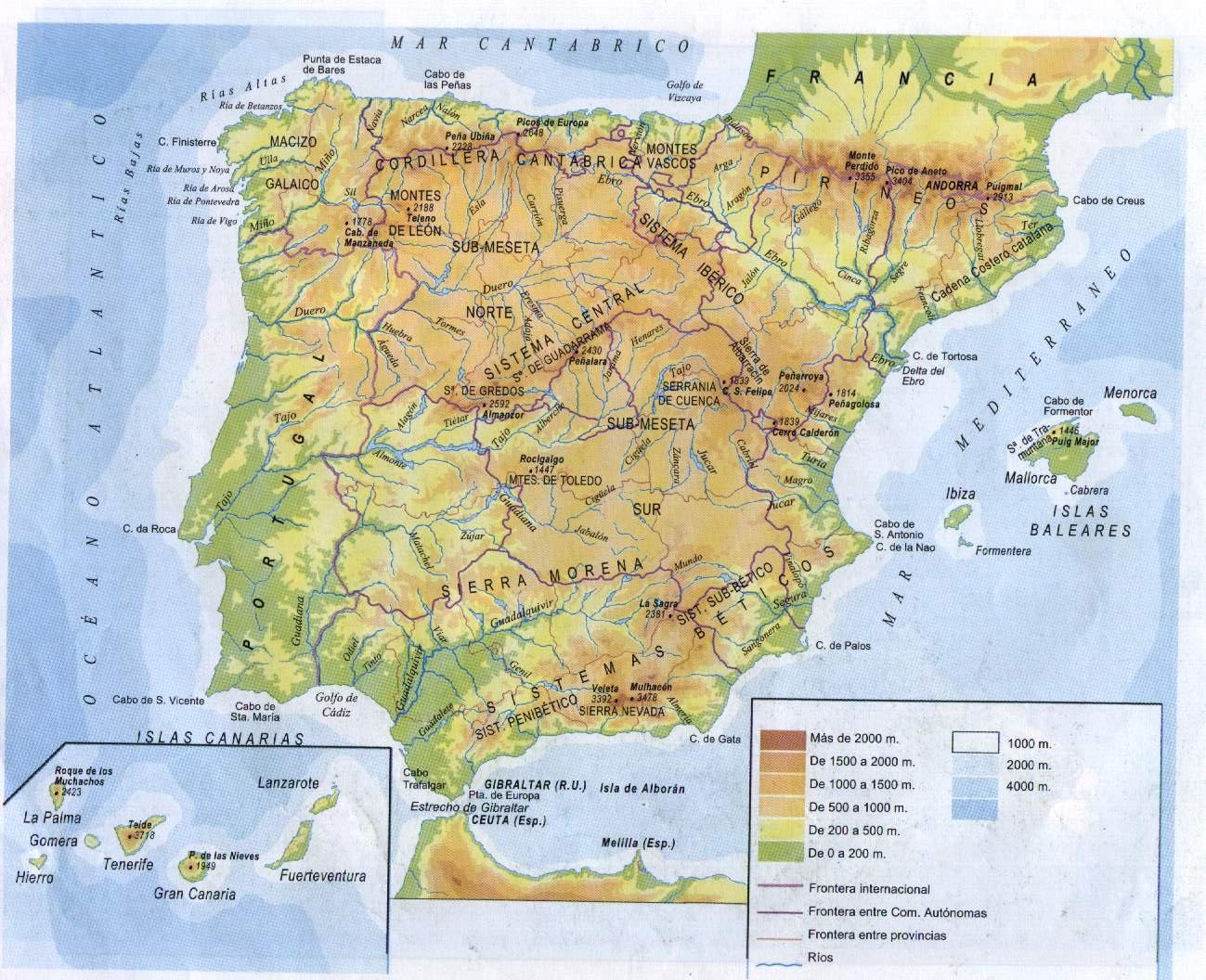 Montaas De Espaa Mapa
