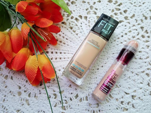 a picture of Maybelline Matte+Poreless Foundation, Instant Age Rewind Concealer in Brightener