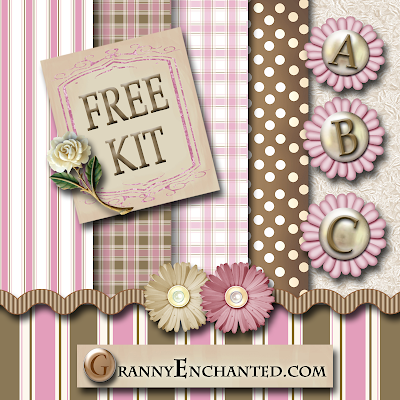 """Pink-Brown"" Free Digi Scrapbook Kit"
