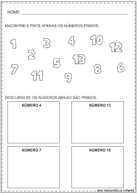 Números Primos Atividades Matemática Infantil