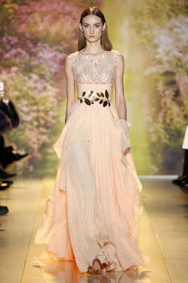 robe longue mousseline orange pastel pour soirée défilé printemps été 2014Haute couture Zuhair Murad
