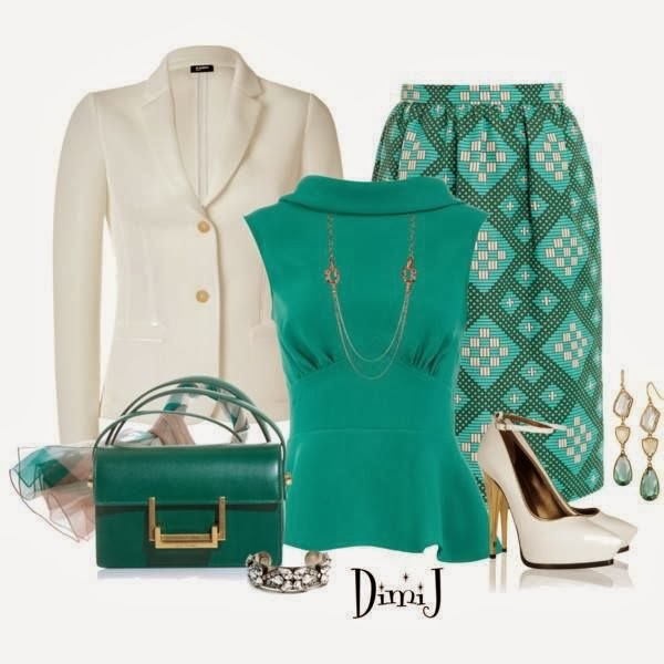 White blazer, blue blouse, skirt and handbag combination for fall