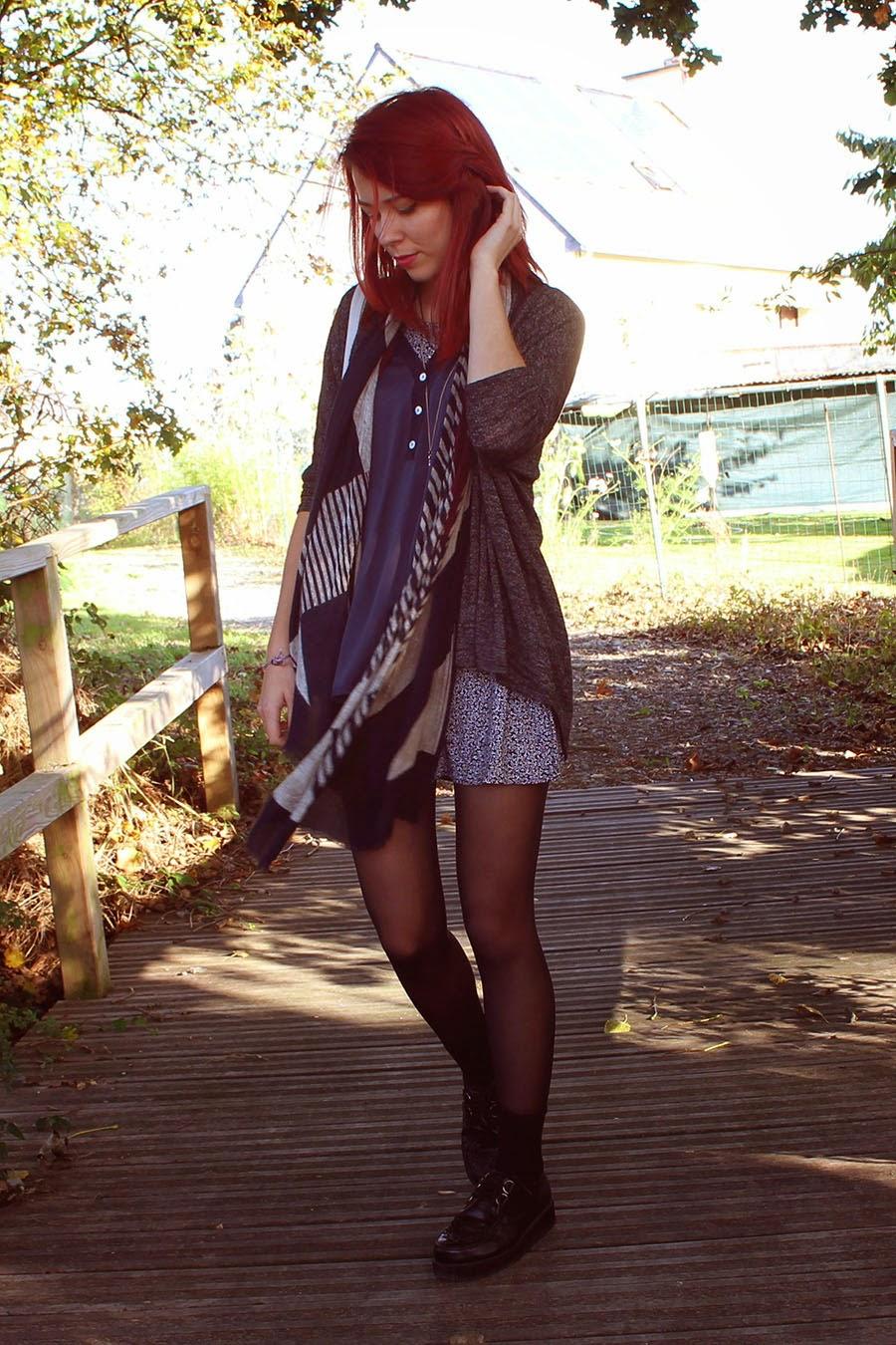 autumnal outfit, fall, jennifet, kimono, redhair, ootd, brezh, smock dress, h&m, bijoux brigitte, army, kaki, burgungy, bordeau, creepers, grunge, style, enjoyk, crystal, amethist, rennes, la creme, tote bag,