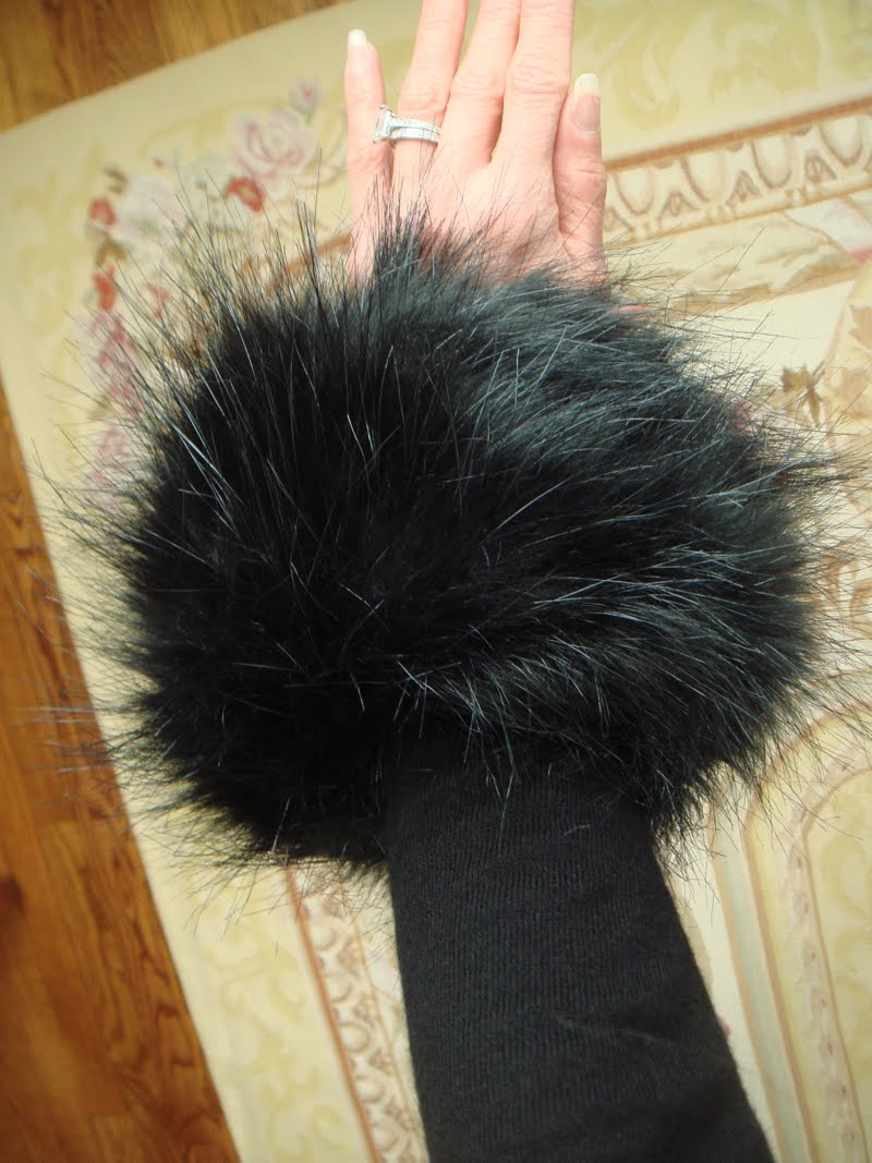 Close up of fur cuff on arm.