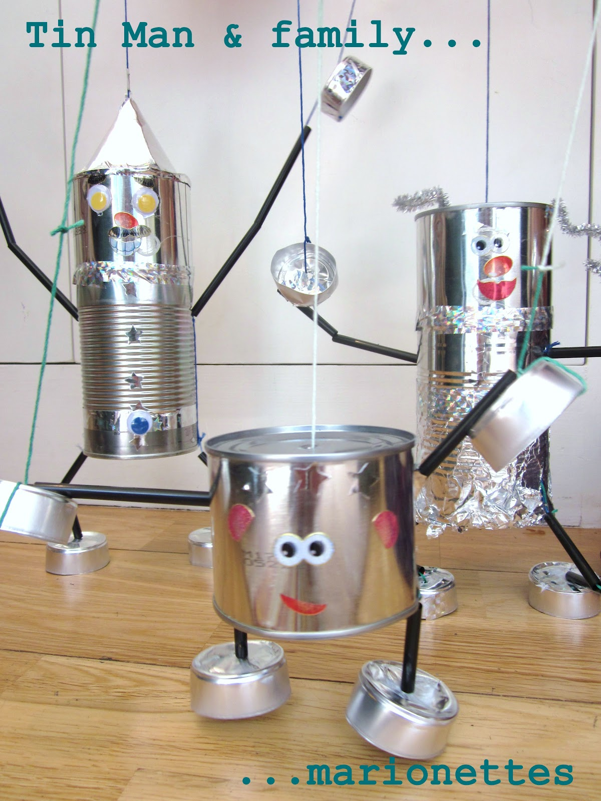 Adventures at home how to make a tin man and a tin lady for Large tin can crafts