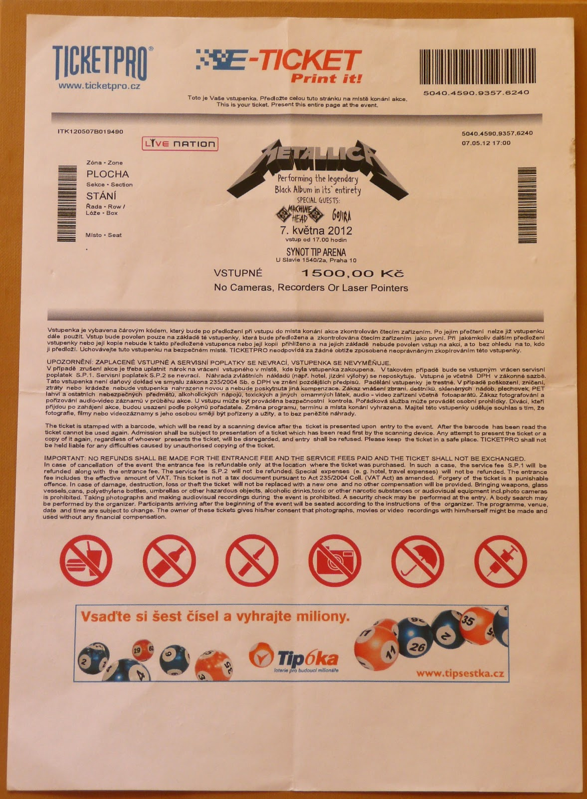 metallica tickets collection one concert different tickets