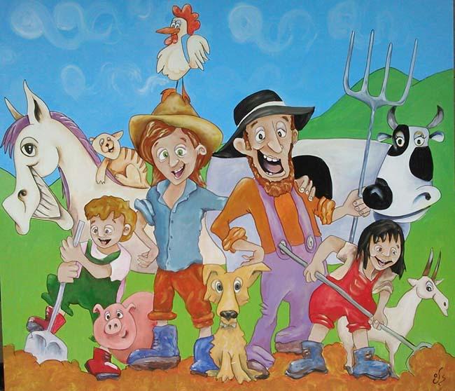 Pintura con animales de  granja y granjeros