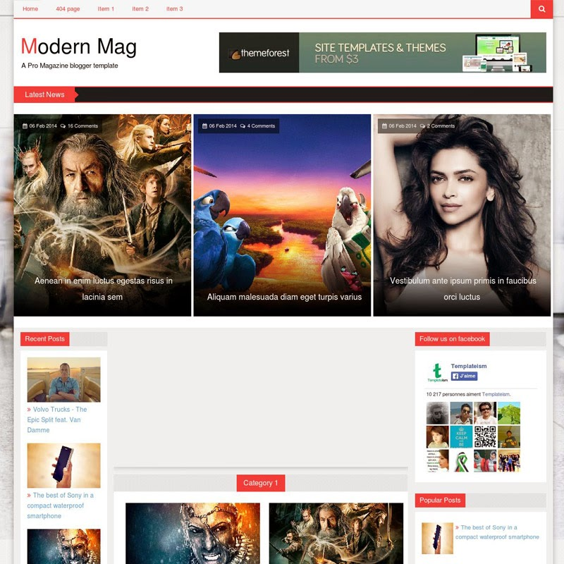 Modern Mag Free Responsive Blogger Templates