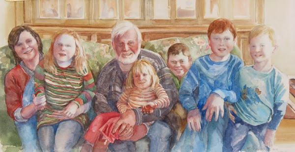 Portrait of a loving grandfather and his six grandchildren.