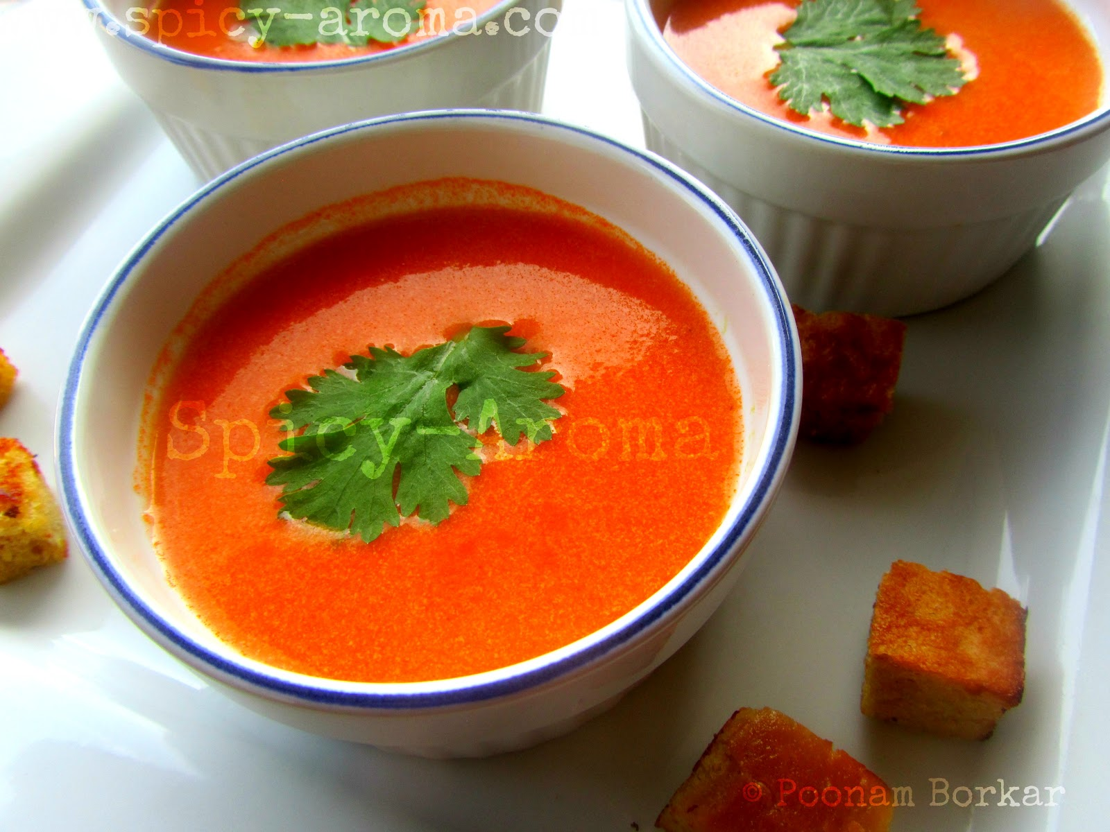 Tomato Soup - Step by Step Recipe | Spicy-Aroma Cream Of Tomato Soup With Garnish