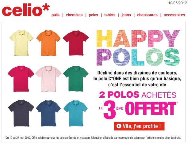 """Promotions Célio: """"Happy Polos"""" 2 polos achetés le 3ème offert bon plan celio promo celio"""