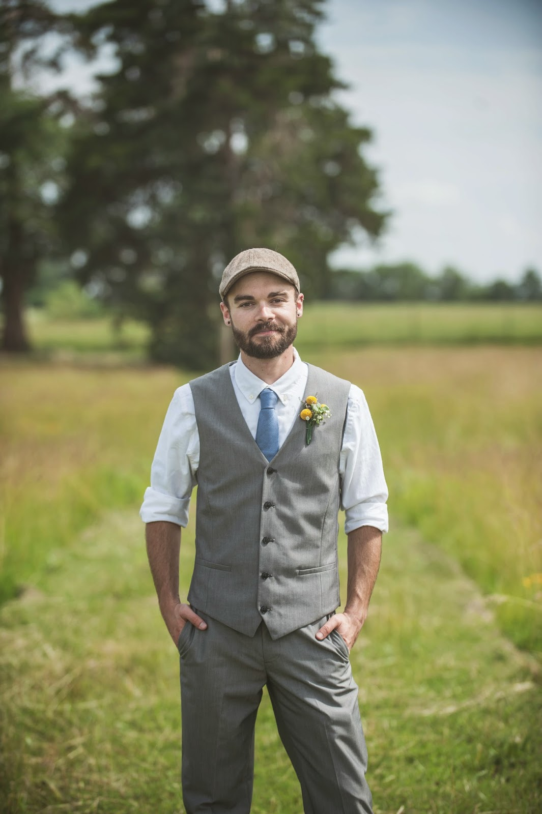Vintage groom in gray