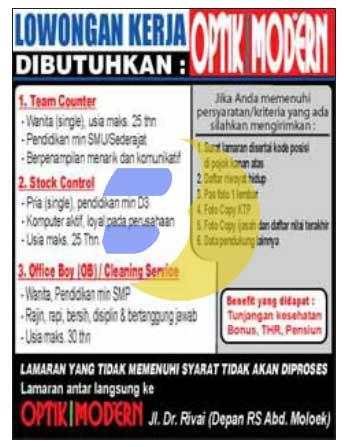 Loker Lampung: Optik Modern