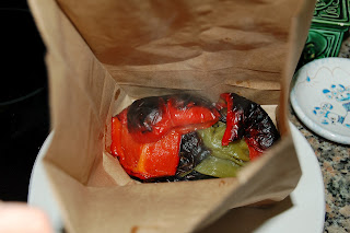 steam roasted red peppers in a bag to easily remove skins